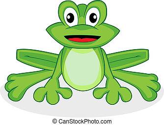 heureux, grenouille, mignon, vert, regarder, minuscule