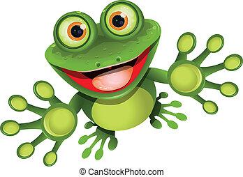 heureux, grenouille
