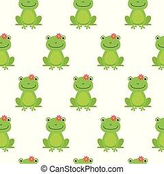 heureux, grenouilles, modèle, seamless, vecteur, fleurs, dessin animé, gentil