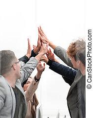 heureux, groupe, élevé, autre, chaque, five., donner, employés