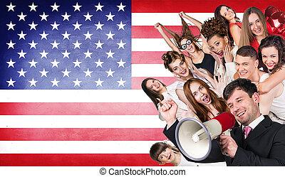 heureux, groupe, de, divers, étudiants