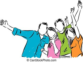 heureux, groupe, illustration, gens