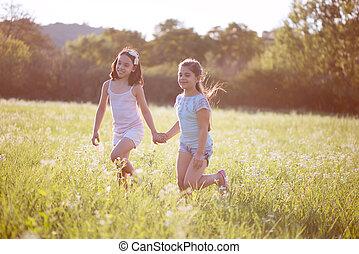 heureux, groupe, jouer, enfants