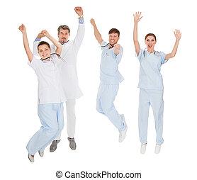 heureux, groupe, médecins