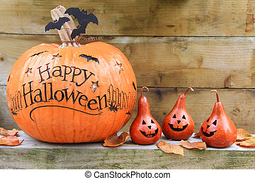 heureux, halloween, citrouille