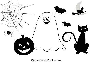 heureux, halloween, icônes