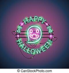 heureux, halloween, néon, fantôme