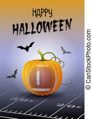 heureux, halloween., sports, salutation, card., football américain, ou, rugby