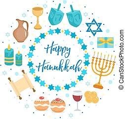 heureux, hanukkah, ensemble, de, icônes, dans, a, rond, forme, salutation, card., gabarit, pour, ton, design., isolé, blanc, arrière-plan., juif, holidays., vecteur, illustration.