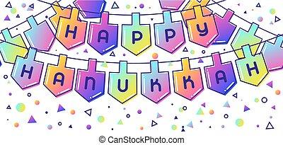 heureux, hanukkah, objets, vacances, bannière, célébration