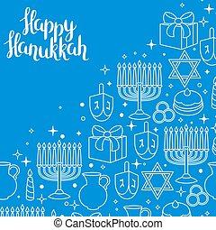 heureux, hanukkah, objets, vacances, carte, célébration