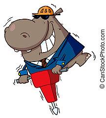 heureux, hippopotame, ouvrier