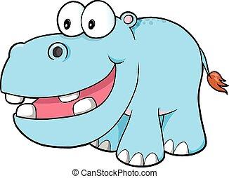 heureux, hippopotame, vecteur, art
