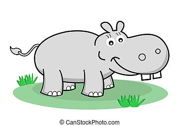 heureux, hippopotame