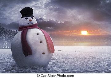 heureux, hiver, bonhomme de neige