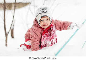 heureux, hiver, enfant