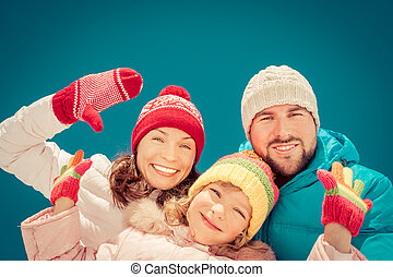 heureux, hiver, famille