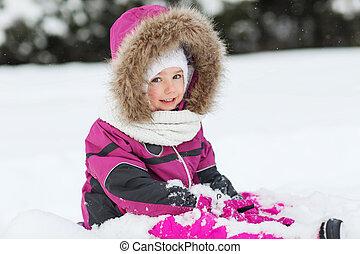 heureux, hiver, neige, gosse, jouer, vêtements