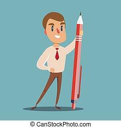 heureux, homme affaires, crayon, tenue