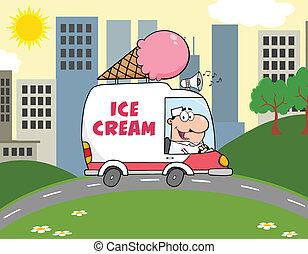 heureux, homme, crème, glace, conduite