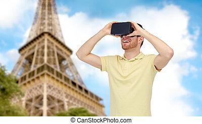 heureux, homme, dans, réalité virtuelle, casque à écouteurs,...