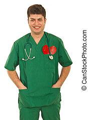 heureux, homme, docteur