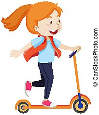 heureux, humeur, girl, scooter, équitation, isolé, style, ...