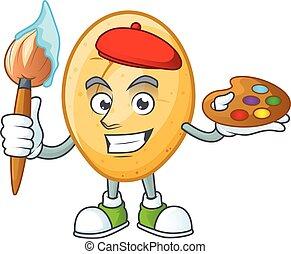 heureux, icône, brosse, dessin animé, peintre, pomme terre
