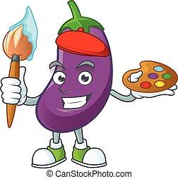 heureux, icône, dessin animé, brosse, peintre, aubergine