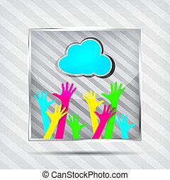 heureux, icône, mains