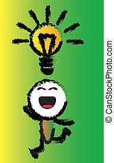 heureux, idée, dessin animé
