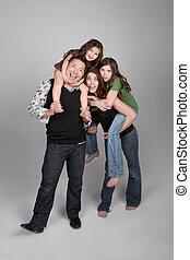 heureux, idiot, 4, famille, gens