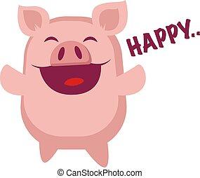 heureux, illustration, arrière-plan., vecteur, porcin, blanc