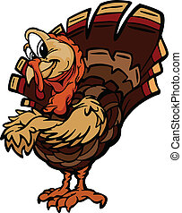heureux, illustration, turquie, vacances, vecteur, thanksgiving, dessin animé