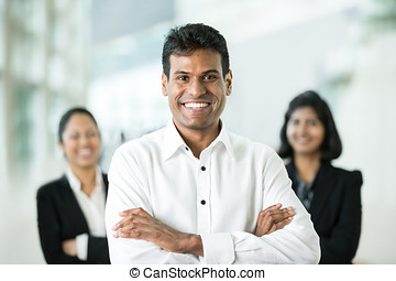 heureux, indien, team., business