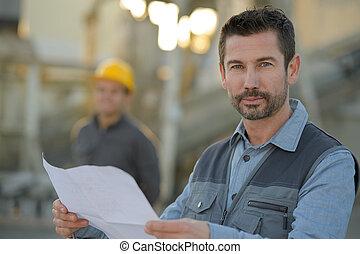 heureux, ingénieur, dans, contre, site construction