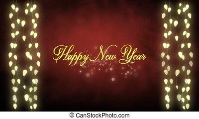 heureux, instruments à cordes, fond, lumières, incandescent, fée, année, nouveau, rouges