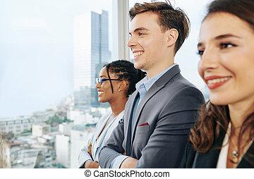 heureux, jeune, équipe, business