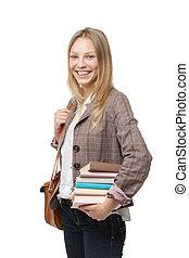 heureux, jeune, étudiant, girl, tenue, livres