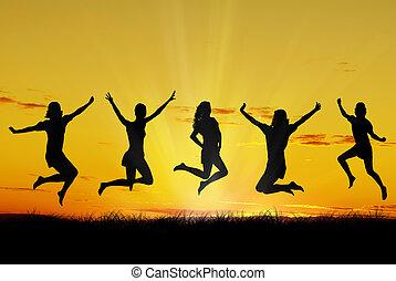 heureux, jeune, amis