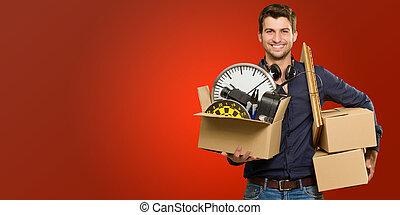 heureux, jeune, boîtes, tenue, carton, homme
