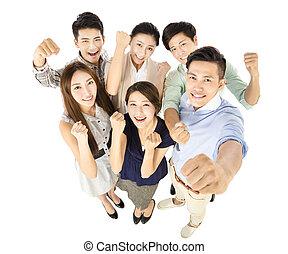 heureux, jeune, equipe affaires, à, reussite, geste