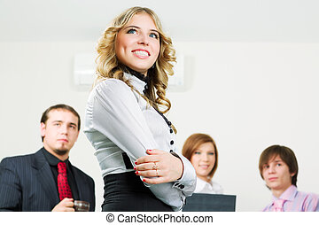 heureux, jeune, equipe affaires