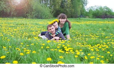 heureux, jeune famille, avoir pique-nique, dans, a, pré