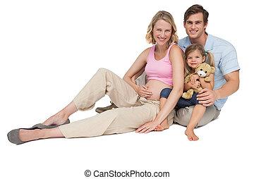 heureux, jeune famille, prévoir, a, nouvelle arrivée,...