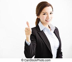 heureux, jeune, femme affaires, à, pouce haut