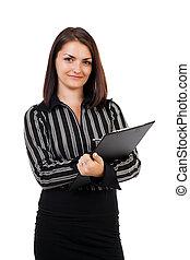 heureux, jeune, femme affaires, écriture, sur, presse-papiers