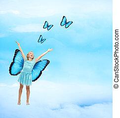 heureux, jeune fille, à, papillons