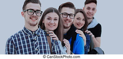 heureux, jeune, groupe gens, debout, togethe