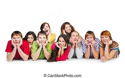 heureux, jeune, groupe gens
